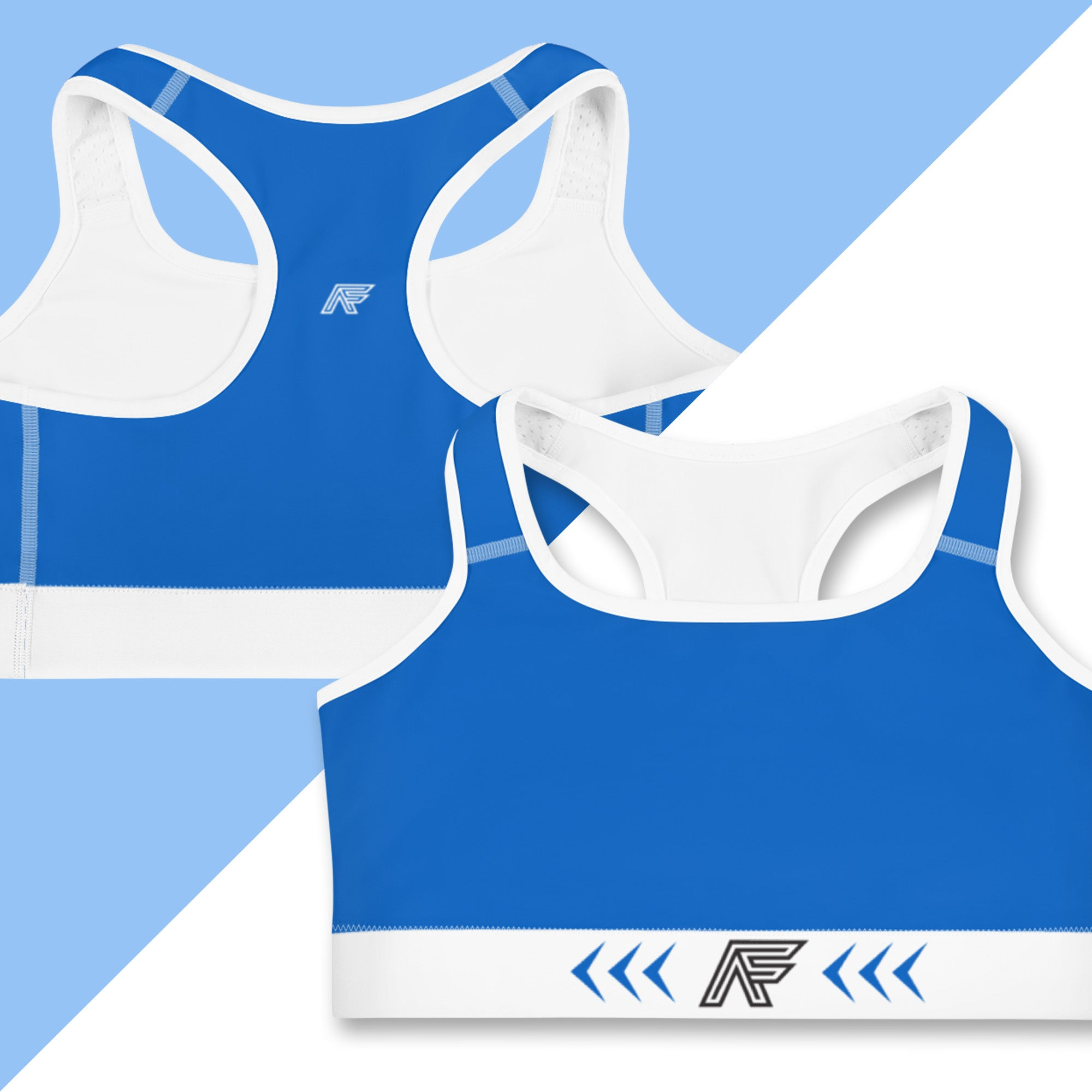 Blue Ranked Sports Bra