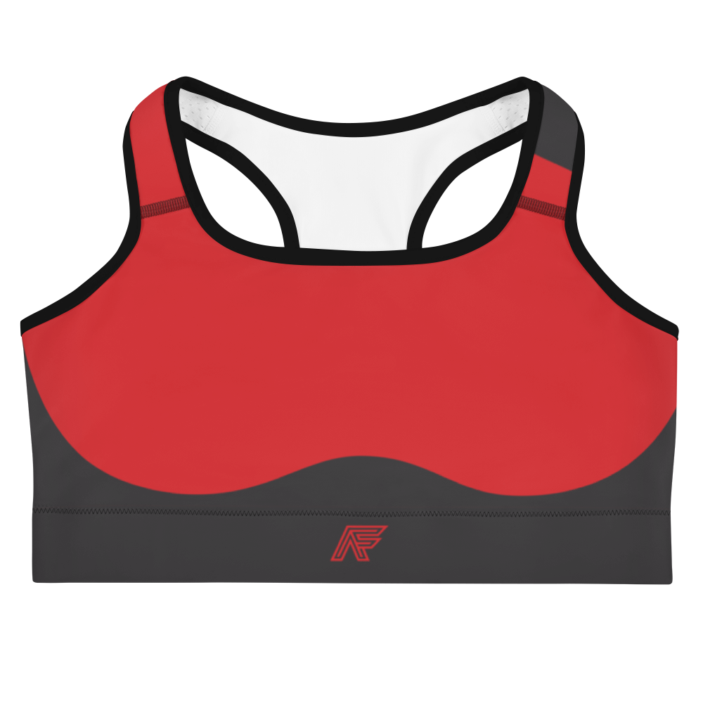 Red/Charcoal Sculpted Sports Bra