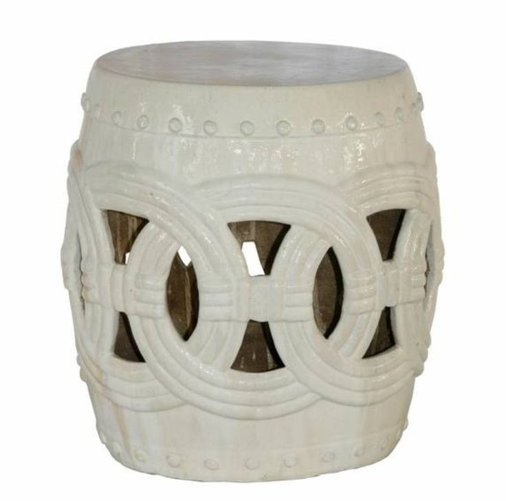 Cream Ceramic Rope Stool