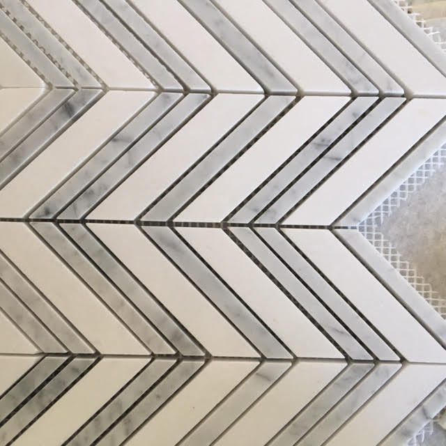 Chevron Mosaic - Grey/White