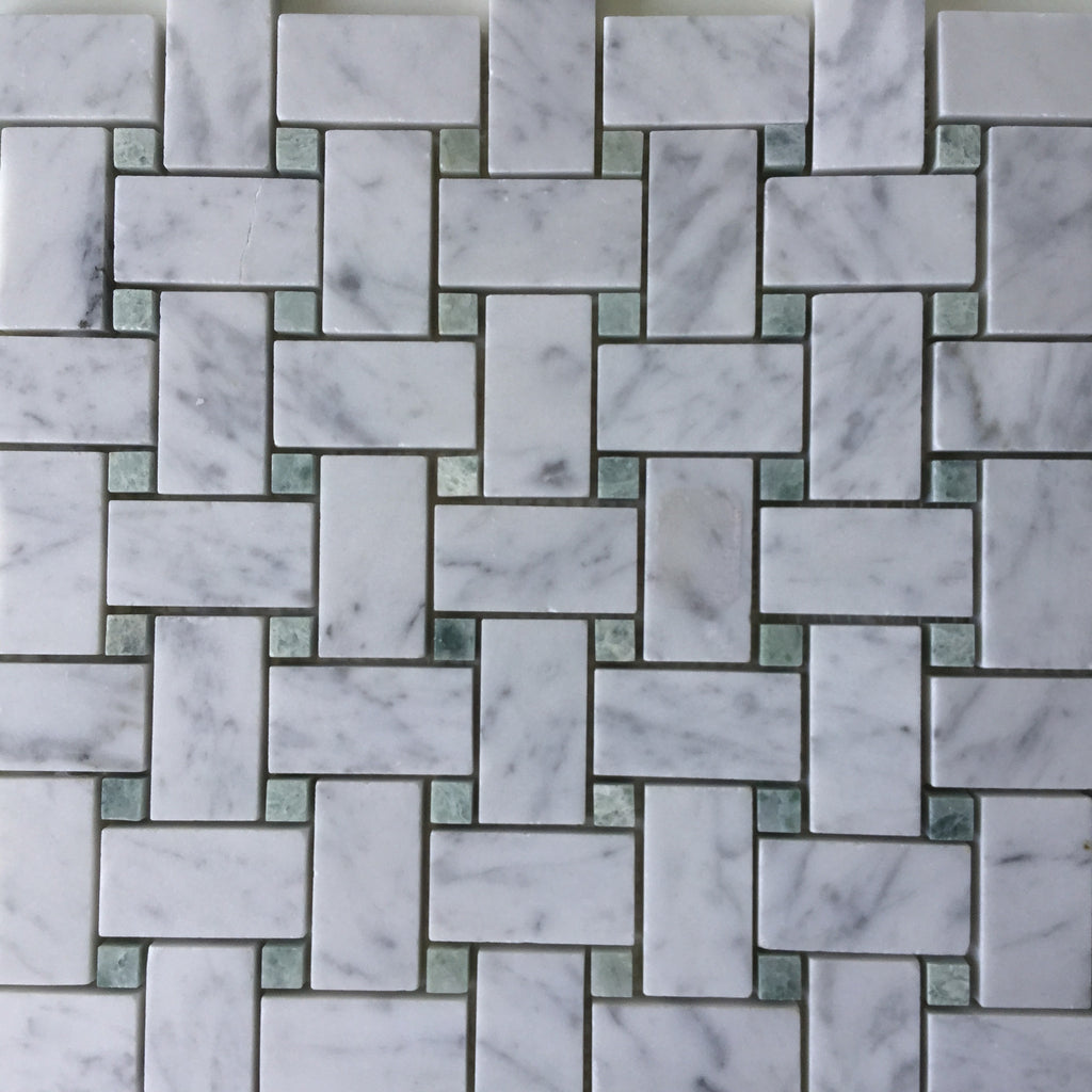 Basketweave Carrara Mosaic - Ming Green