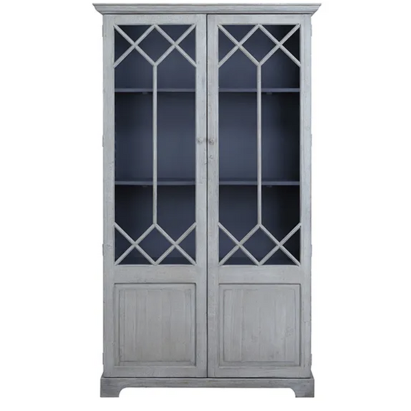 Antique Blue/Grey Display Cabinet