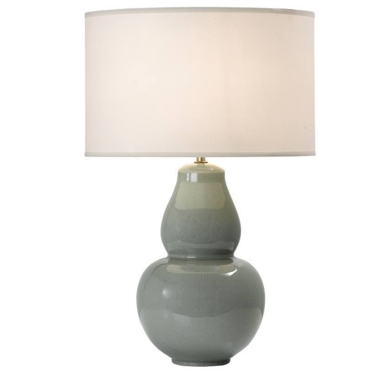 Celadon Gourd Lamp with Drum Shade