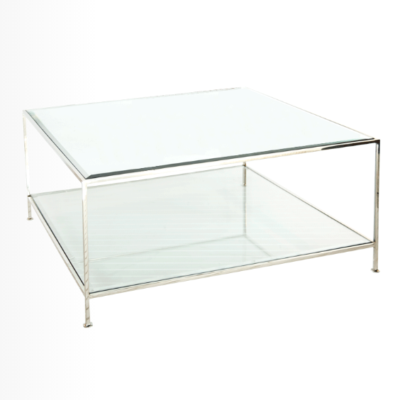 Square Nickel and Glass Coffee Table