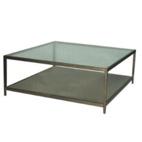 Antique Brushed Gold and Glass Square Coffee Table