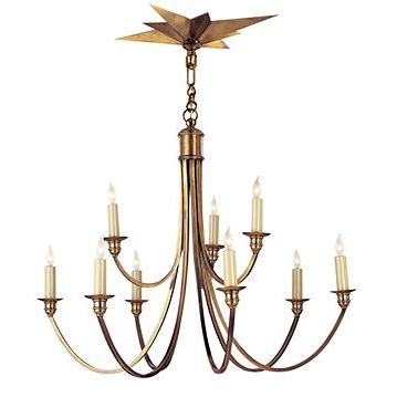Venetian 9 Light 2 Tier Chandelier - Burnished Brass