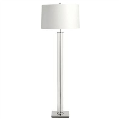 Norman Glass and Polished Nickel Floor Lamp with White Parchment Shade