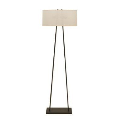 A Frame Bronze Floor Lamp with Fine Cream Linen Parchment Oval Shade
