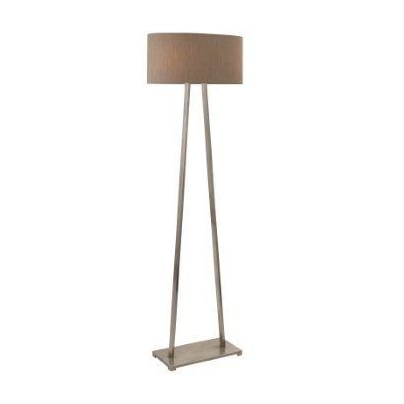 A Frame Brushed Nickel Floor Lamp with Stone Fabric Oval Shade