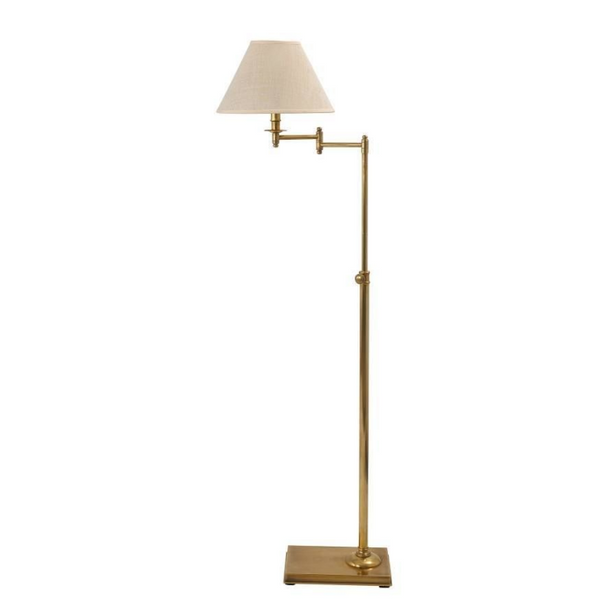 Brass Plate Swing Arm Floor Lamp with Empire Shade