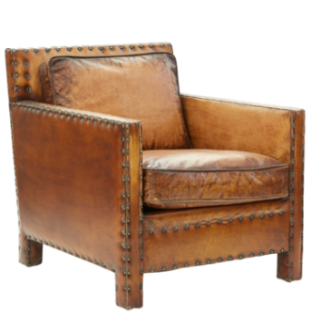 Square Leather Armchair
