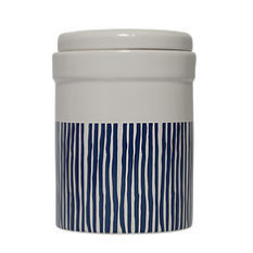 Navy and White Pet Treat Cannister