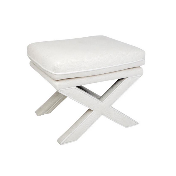 White Chevron Linen Cross Leg Stool