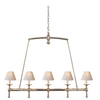 Linear Chandelier in Bronze with Natural Paper Shades