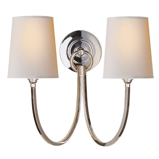 Reed Double Sconce in Polished Nickel with Natural Shades