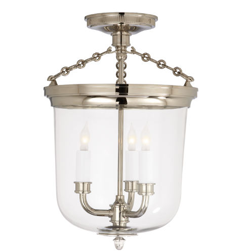 Merchant Semi Flush Light in Polished Nickel
