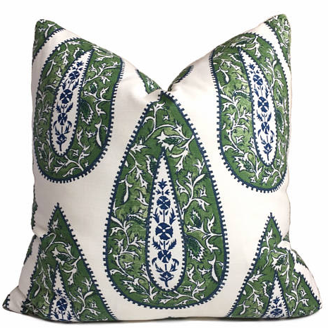 Lacefield Bindi Paisley Teardrop Medallion Green Cushion