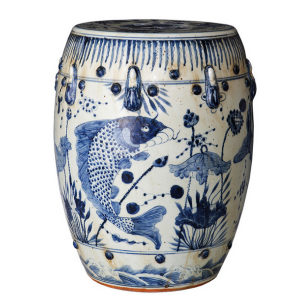 Blue & White Fish Stool