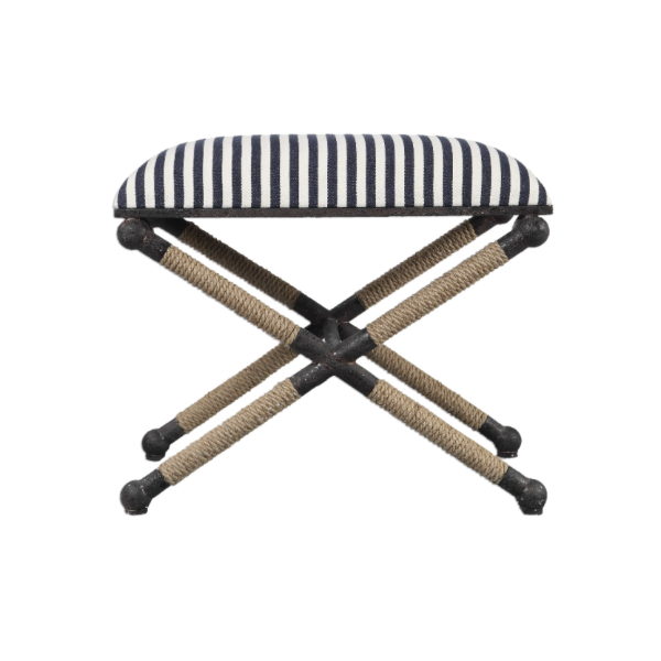 Blue & White Rope Stool