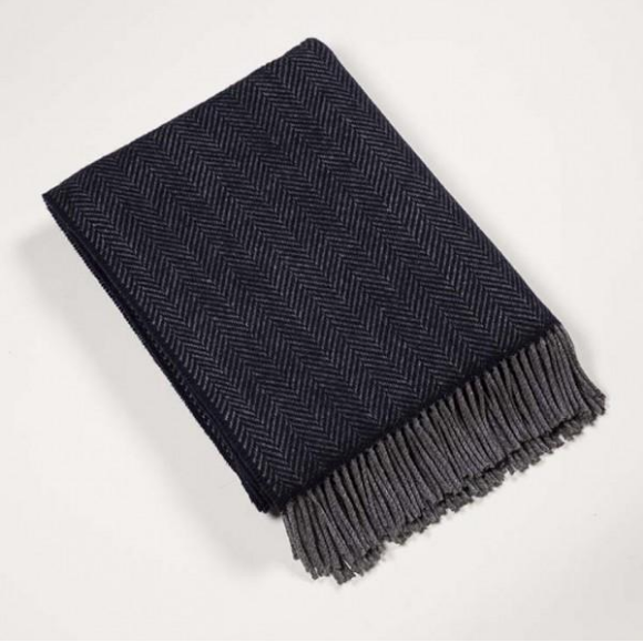 Merino Cashmere Throw Navy/Grey Herringbone