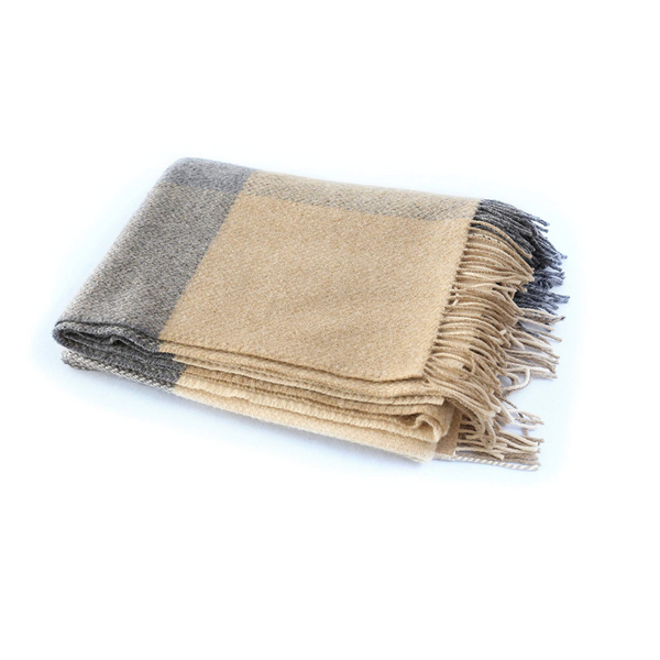 Merino Cashmere Throw Grey/Camel Check