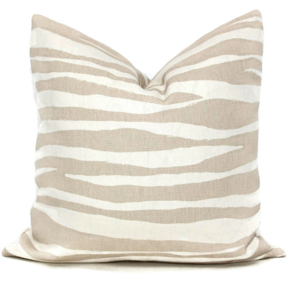 Kravat Tan Linen Zebra Pillow Cover