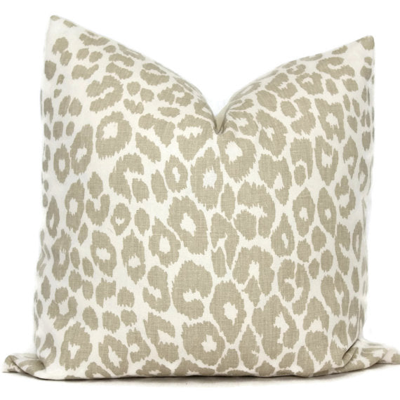 Schumacher Iconic Leopard in Linen Cushion
