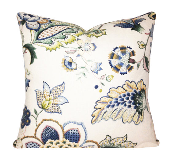 Blue Green Floral Cushion