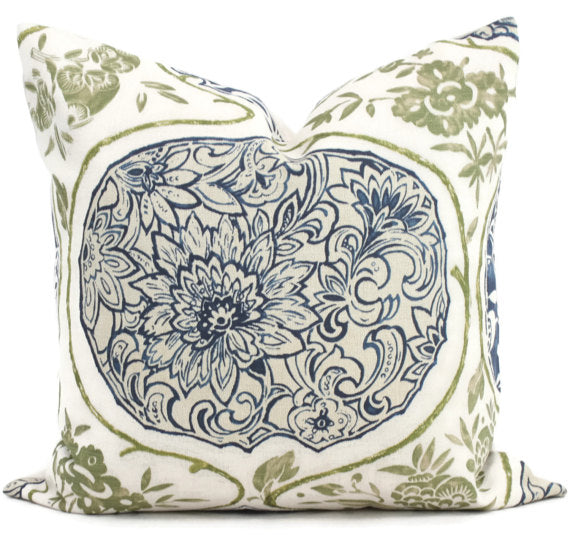 Schumacher Katsugi Indigo and Green Cushion