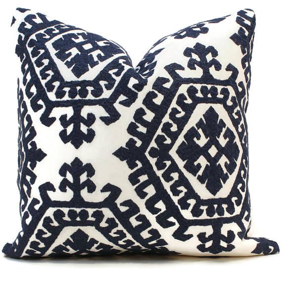 Schumacher Embroidered Blue Omar Cushion
