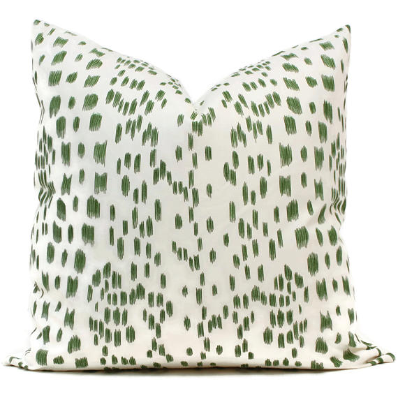 Brunschwig Fils Les Touches Green Cushion