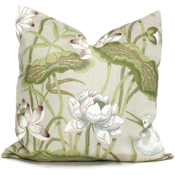 Schumacher Document Lotus Garden Cushion