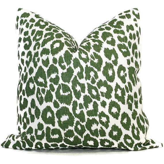 Schumacher Iconic Leopard Green Cushion