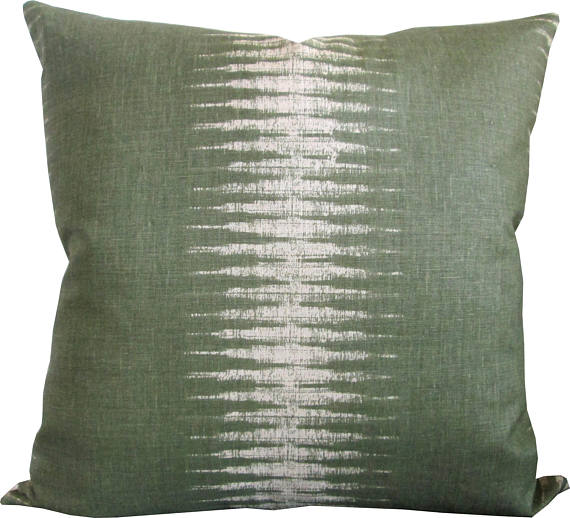 Peter Dunham Olive Ikat Cushion
