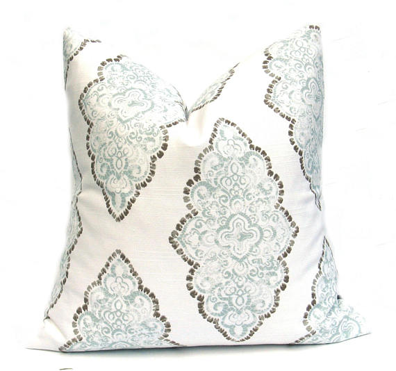 Aqua/Brown Woodblock Cushion