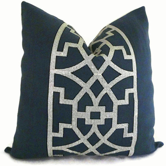 Navy Trellis Cushion