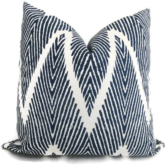 Indigo Blue Ikat Chevron Pillow