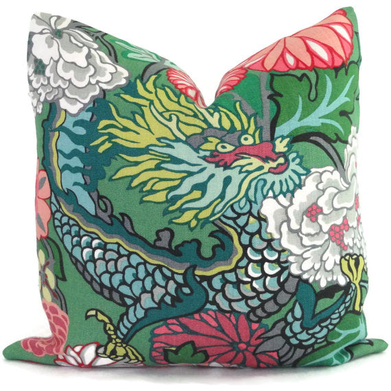 Schumacher Jade Chang Mai Dragon Cushion