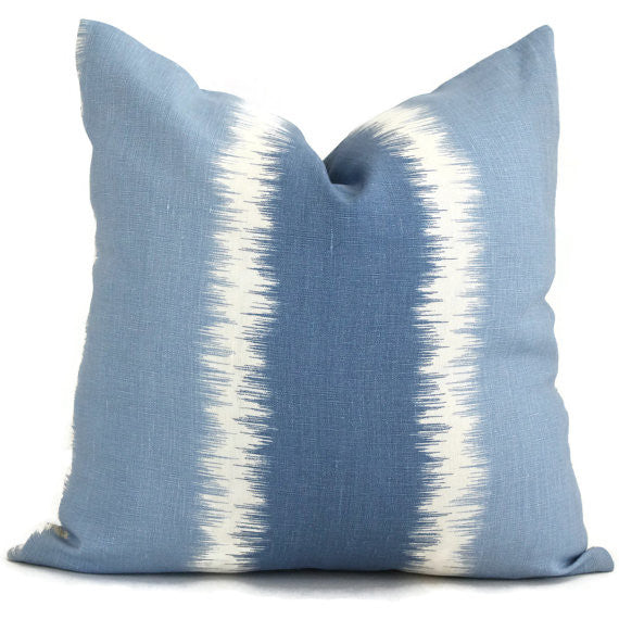Light Blue Stripe Ikat Cushion