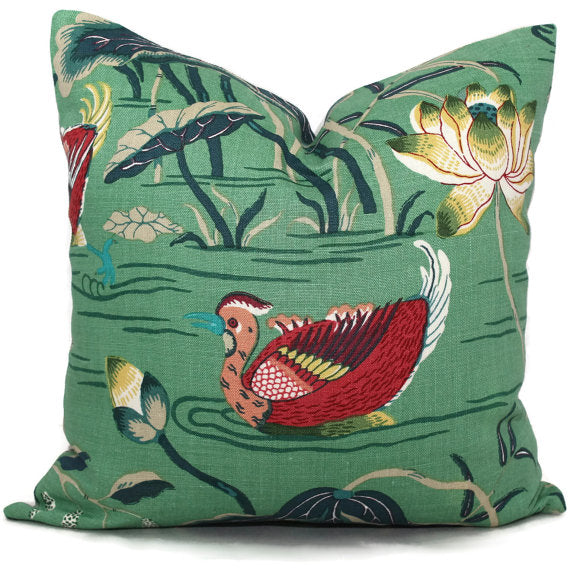 Schumacher Jade Lotus Garden Cushion