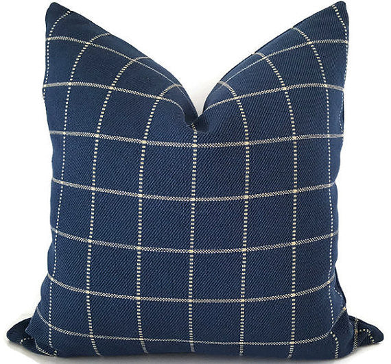Navy Plaid Cushion