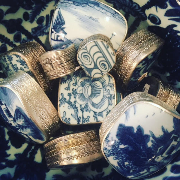 Assorted Blue & White Trinket Boxes