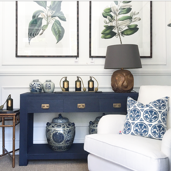 Navy Grasscloth Console