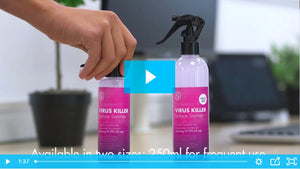 Check out how the Virus Killer Spray is designed for the workplace video