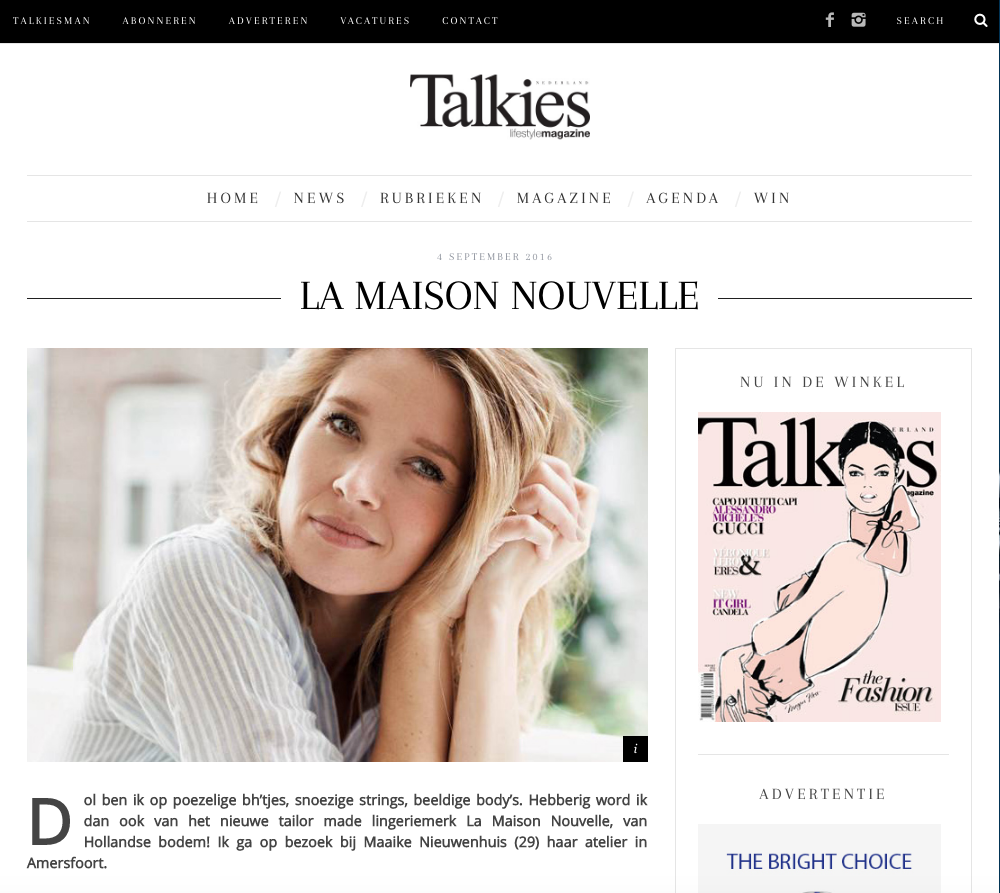 Maaike Nieuwenhuis for La Maison Nouvelle in Talkies Magazine