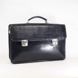 Black luxury briefcase in real leather office bag