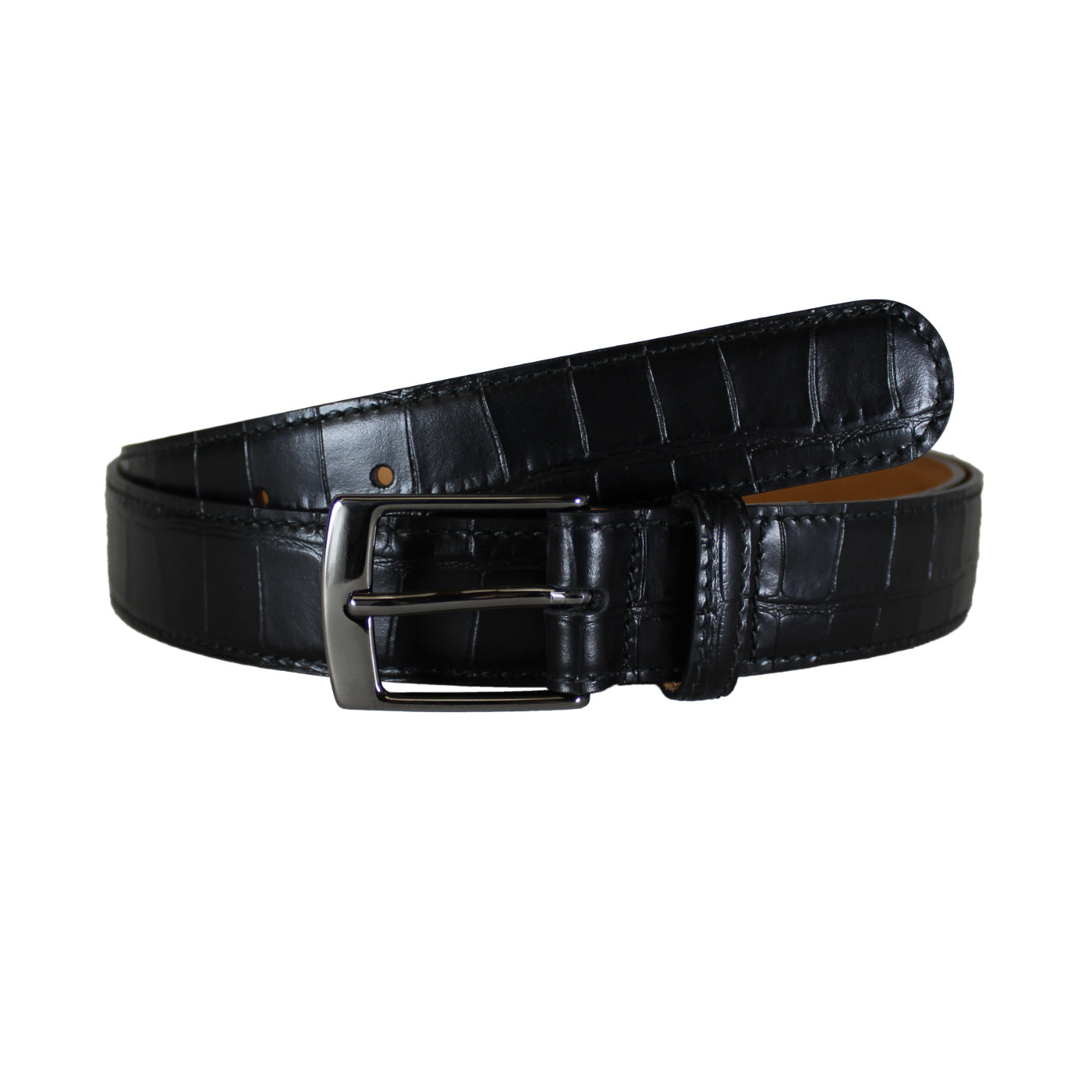 "Croccodile Stamp Black Dress Vegetable Tanned Leather Belt (Width 30mm - 1¼"")"