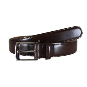 "Dark Brown Dress Brushed Vegetable Tanned Leather Belt (Width 30mm - 1¼"")"