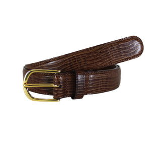 "Lizard Stamp Brown Dress Vegetable Tanned Leather Belt (Width 30mm - 1¼"")"