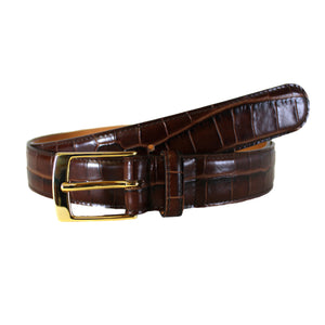 "Croccodile Stamp Brown Dress Vegetable Tanned Leather Belt (Width 30mm - 1¼"")"